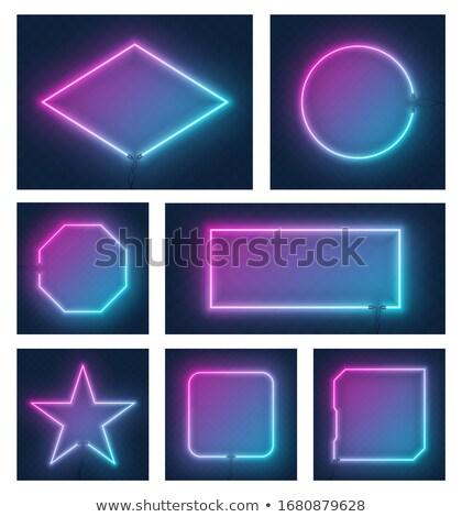 Neon luci rettangolo fotogrammi set Foto d'archivio © Voysla
