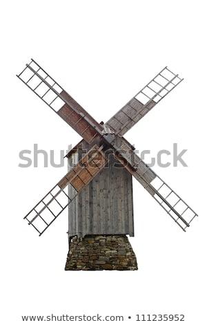 öreg · fából · készült · szélmalom · hagyományos · sziget · nap - stock fotó © olandsfokus