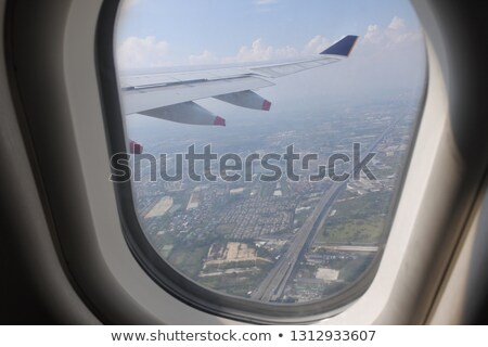 view from a plane window over the city Stock photo © tracer