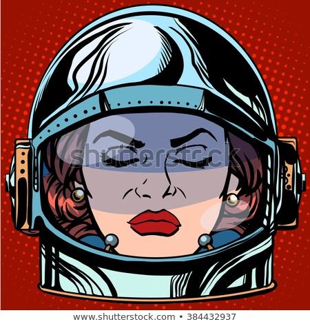 Emoticon ira cara mujer astronauta retro Foto stock © studiostoks