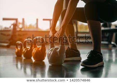 ケトルベル 孤立した 白 フィットネス 赤 筋 ストックフォト © magraphics