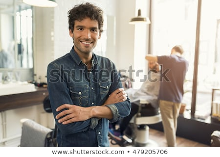 Gewapend kapper mooie jonge haardroger Stockfoto © MilanMarkovic78
