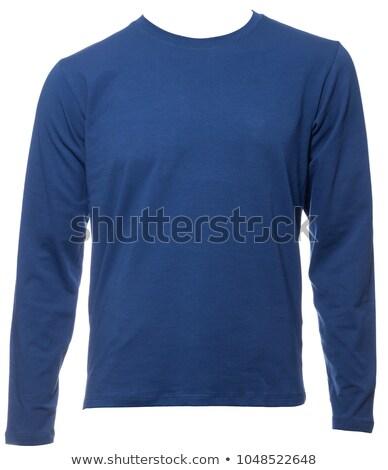 Adam mavi giysi örnek beyaz Stok fotoğraf © bluering