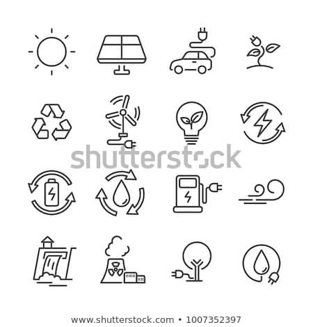 Photo stock: Lumière · énergie · icônes · illustration · blanche · fond