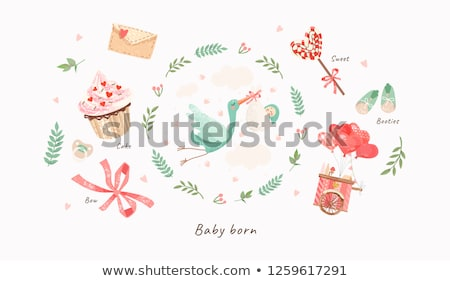 Set of Storks and Babies  Stock photo © Dazdraperma
