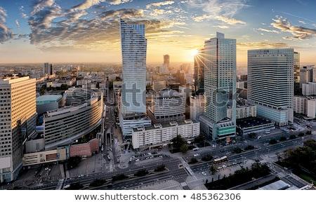 Moderne wolkenkrabbers Warschau blauwe hemel exemplaar ruimte Stockfoto © filipw