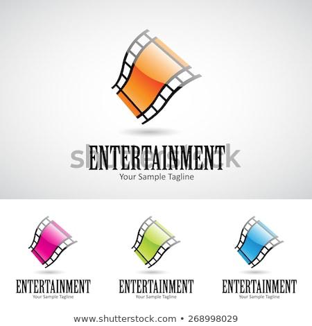 Fényes 3D rajz filmszalag logo ikon Stock fotó © cidepix