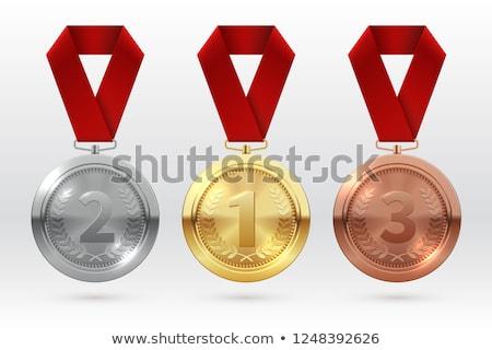 altın · madalya · üç · renkli · şerit · yalıtılmış · beyaz · spor - stok fotoğraf © pakete