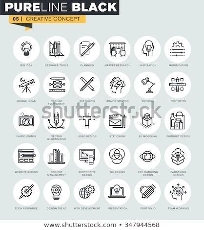 dizayn · editör · araç · kroki · ikon · vektör - stok fotoğraf © rastudio