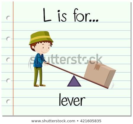 L betű emelő illusztráció férfi gyerekek gyermek Stock fotó © bluering