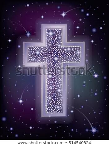 Starry Christian Cross holidays wallpaper, vector illustration Stock photo © carodi