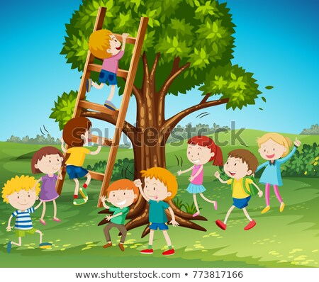 Many children climbing up the tree Stock photo © bluering
