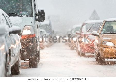 Jazdy śniegu zła pogoda drogowego wewnątrz samochodu Zdjęcia stock © exile7