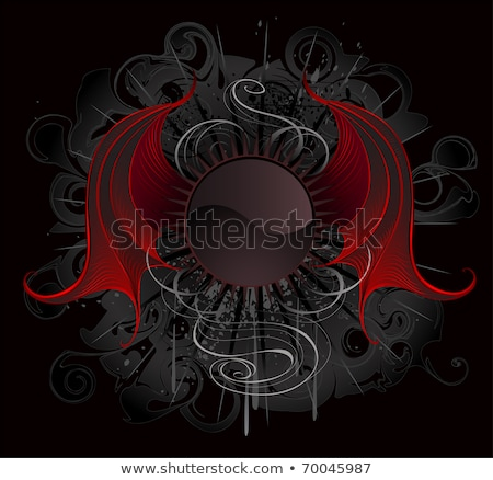 Gothic round banner with the red wings dragon Stock photo © blackmoon979