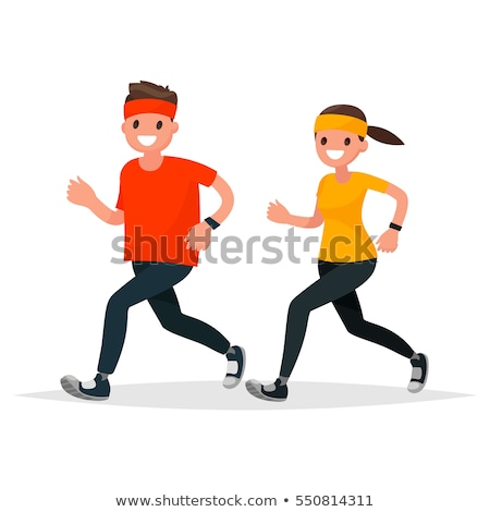 runner on jog flat style vector illustration stock photo © robuart