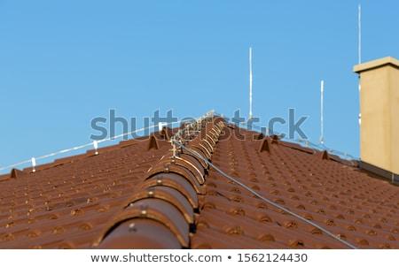 Brązowy dachu komin pioruna Błękitne niebo domu Zdjęcia stock © jarin13