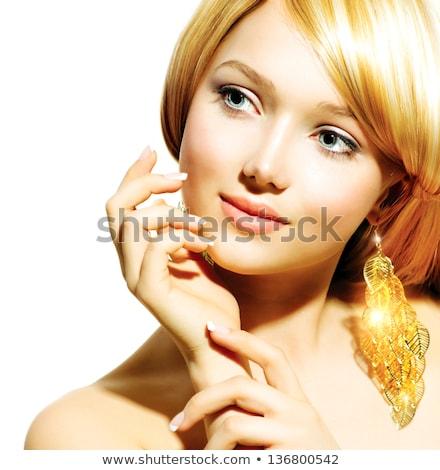 Szőke nő fényes arany kezek csillogó Stock fotó © konradbak