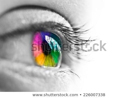 Сток-фото: красивой · красочный · человека · глаза · темно · глазах