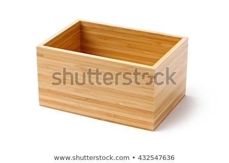 Bambusz fából készült doboz konténer izolált fehér Stock fotó © smuay