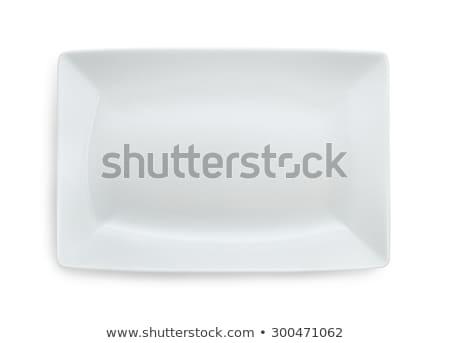 Fehér négyszögletes tányér dekoratív peremszegély tiszta Stock fotó © Digifoodstock