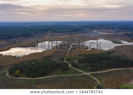 Aerial drone view of car on dirty countryside road Stock photo © stevanovicigor