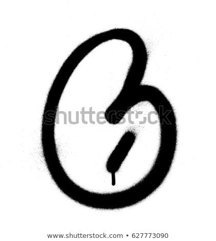 graffiti Bubble Font number 6 in black on white Stock photo © Melvin07