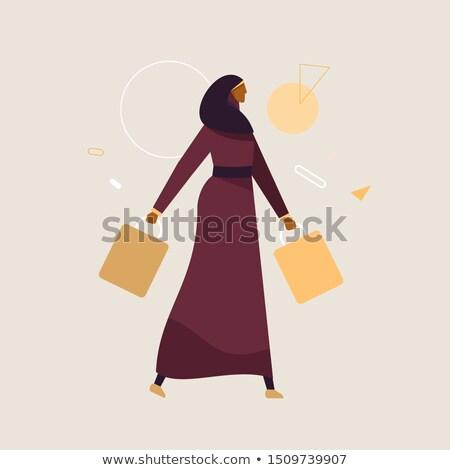 Foto stock: Jovem · Árabe · muçulmano · mulher · compras · desenho · animado