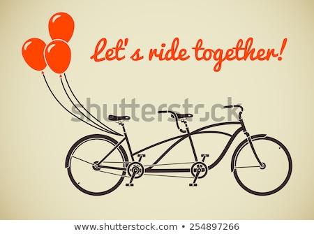 klasszikus · romantikus · tandem · bicikli · léggömbök · vektor - stock fotó © nikodzhi
