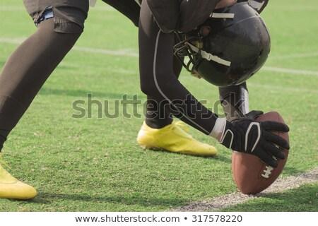 Játékos guggol rögbilabda mező alacsony részleg Stock fotó © wavebreak_media