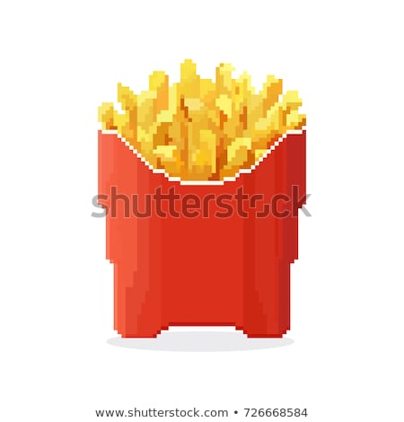 French fries pixel art. Fast food pixelated. Fastfood isolated Stock photo © MaryValery