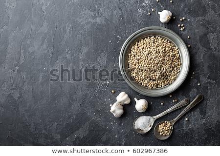 Witte peper knoflook zout donkergrijs culinair Stockfoto © yelenayemchuk