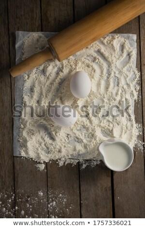 мучной яйца скалка масло бумаги голову Сток-фото © wavebreak_media