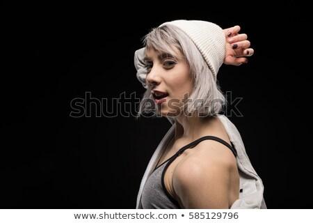 Ritratto donna abbigliamento sportivo nero ragazza giovani Foto d'archivio © LightFieldStudios