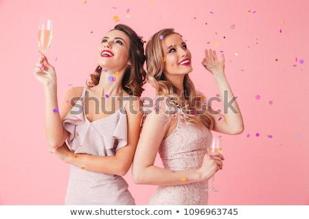 vidro · champanhe · feminino · mão · isolado - foto stock © lithian