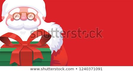 karácsony · boldog · új · évet · szalag · piros · hópelyhek · ajándékdobozok - stock fotó © Leo_Edition