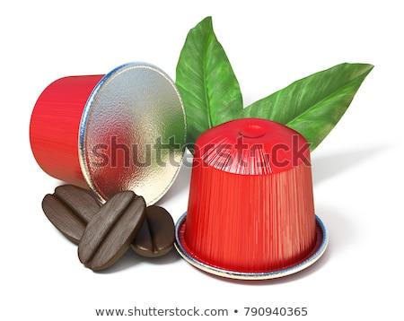 ストックフォト: 赤 · コーヒー · カプセル · コーヒー豆 · 葉 · 3D