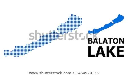 harita · göl · Balaton · mavi · model · daire - stok fotoğraf © rbiedermann