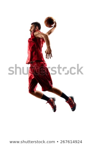 Single basketball player and ball Stock photo © IS2