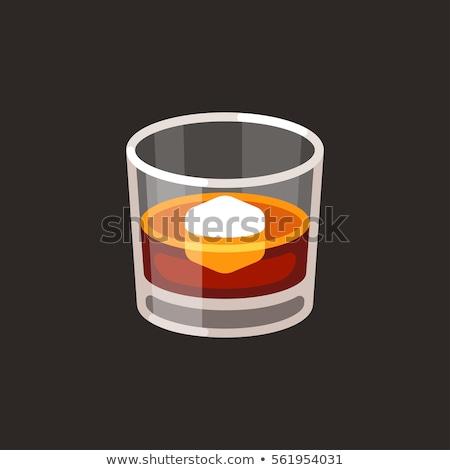 whisky glass with ice cubes vector cartoon stock photo © rastudio
