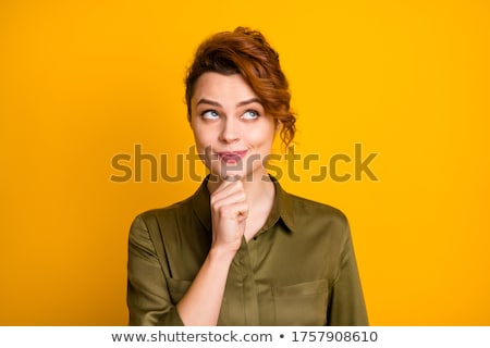 Image pensive souriant gingembre femme Photo stock © deandrobot