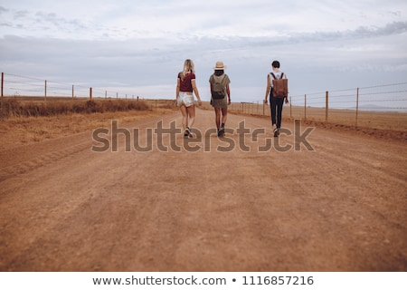 Young friends walking down rural road, rear view Stock photo © IS2