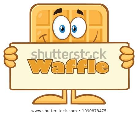Sonriendo cuadrados gofre mascota de la historieta carácter Foto stock © hittoon