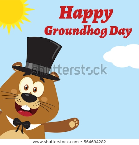Smiling Marmot Cartoon Mascot Character With Hat Waving From Corner Stock photo © hittoon