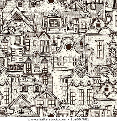 Stock photo: Vintage hand drawn vector seamless pattern with cats