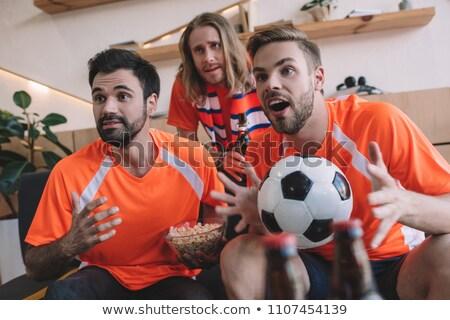 Fanów oglądać piłka nożna mistrzostwo pop art retro Zdjęcia stock © studiostoks