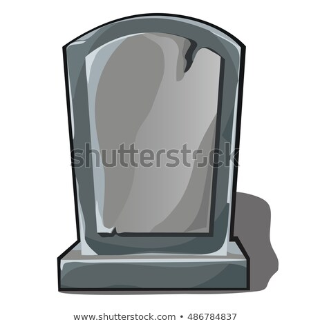 Sepulchral monument of gray stone with space for your text isolated on white background. Element of  Stock photo © Lady-Luck