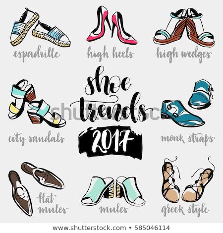 Magas sarok cipő kézzel rajzolt skicc firka ikon Stock fotó © RAStudio