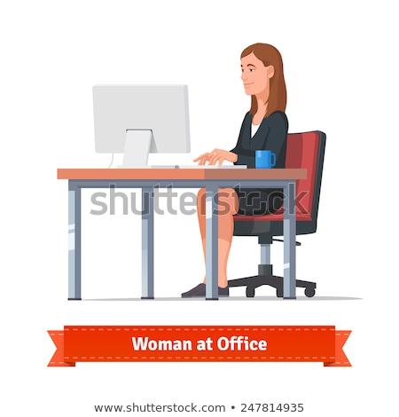 Type lang haar werk ingesteld vrouwen bureau Stockfoto © toyotoyo