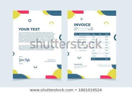 professional geometric invoice template design Stock photo © SArts