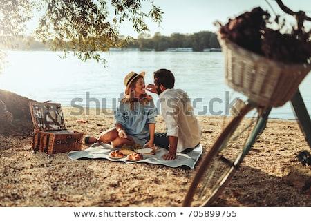 Pareja · cesta · de · picnic · campo · hombre · diversión · caminando - foto stock © deandrobot